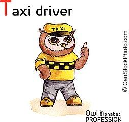 taxi, búho, alfabeto, profesiones, watercolor., -, vector,...