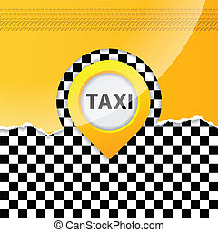 Taxi background with ripped paper