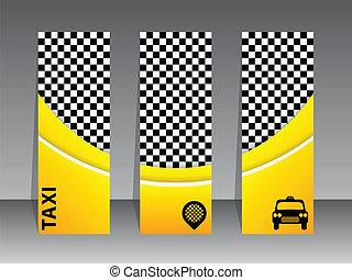 taxi, banderas, a cuadros, amarillo