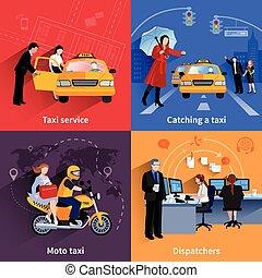 taxi, bannières, 2x2, ensemble, service