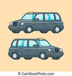 taxi, begrepp, färgrik