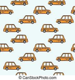 taxi, bilerne, mønster