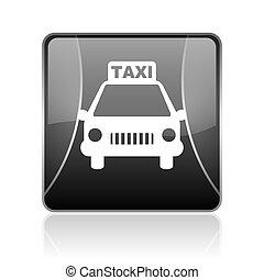 taxi black square web glossy icon
