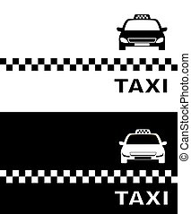 taxi, blanc, noir, carte, business
