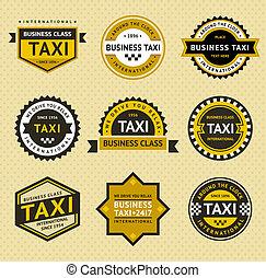 taxi, blazoen, stijl, -, ouderwetse