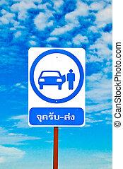 taxi, bleu, autobus, ciel, isolé, signe, fond, navette, ou