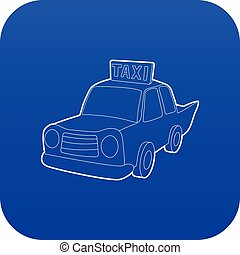 taxi, bleu, vecteur, icône