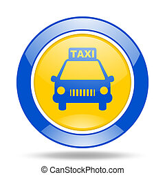 taxi blue and yellow web glossy round icon
