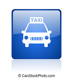 taxi blue square glossy web icon on white background