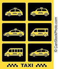 taxi, boutons, ensemble, noir, voiture