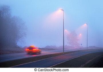 taxi, brouillard