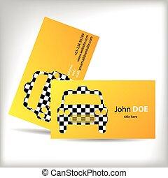 Taxi business card design with cutout car shape