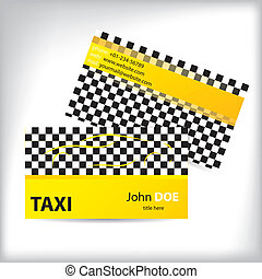 Taxi business card ideal for taxi drivers - Checkered taxi ...