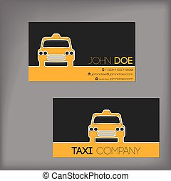 Taxi business card with cab silhouette - Taxi business card...