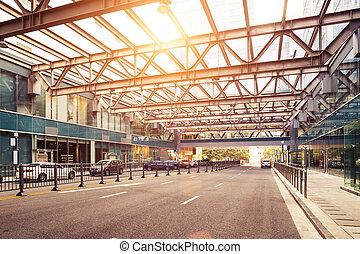 taxi, byggnad, station