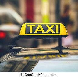 taxi cégtábla, képben látható, autó, szándék, elhomályosít