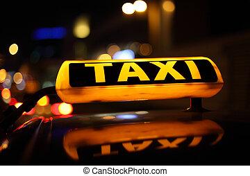 taxi cégtábla, sárga, éjszaka