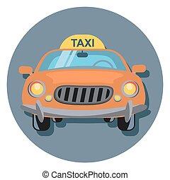 taxi, círculo, shadow.eps, icono