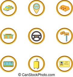 Taxi cab icons set, cartoon style