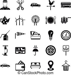 Taxi cab icons set, simple style
