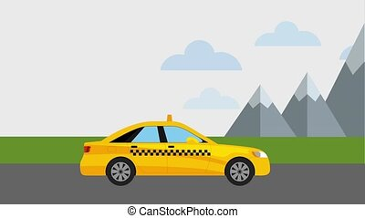 taxi cab in road mountains landscape animation