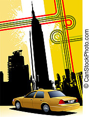 taxi, cab., jaune, vecteur, illustration, new york