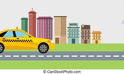taxi cab on street city landscape animation