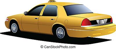 taxi, cab., sárga, vektor, ábra, new york