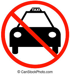 taxi cab with red not allowed symbol - no taxi parking