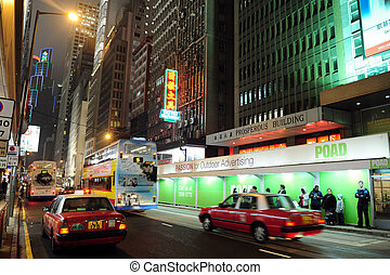 Taxi cabs in Hong Kong, China