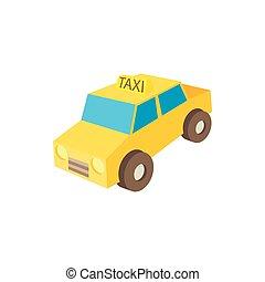 Taxi car icon, cartoon style