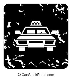 Taxi car icon, grunge style