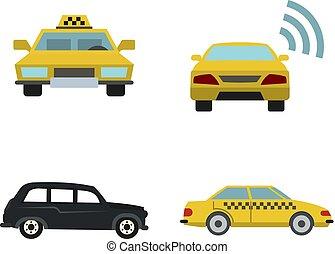 Taxi car icon set, flat style