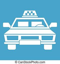 Taxi car icon white