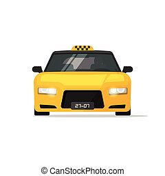 Taxi car isolated luxury front view vector illustration