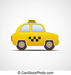 Taxi car isolated on white background.