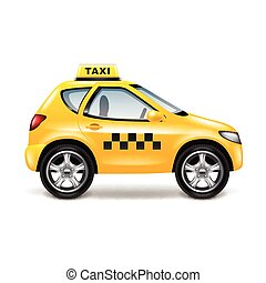 Taxi car isolated on white vector