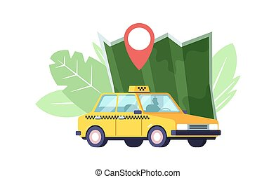 Taxi Car, Map and Navigation Pin, Yellow Taxicab Sedan with Checker Oracle and Light Box on Roof. Automobile Taxi Service, Urban Logistic Passenger Transport Company. Cartoon Vector Illustration