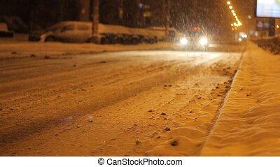 Taxi Car Passing Snowed Road