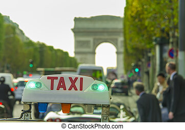 taxi car sign and business people. Arc de Triomphe in background, Paris city