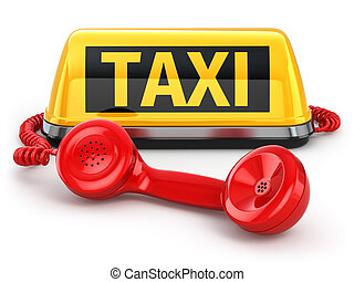 Taxi car sign and telephone on white isolated background. 3d...