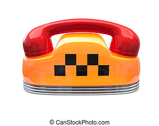 Taxi car sign with telephone reciever handset