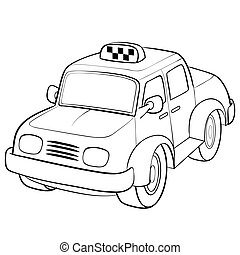 taxi car sketch, cartoon illustration, isolated object on a white background, vector illustration,