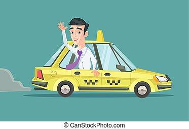 Taxi car. Vector flat illustration