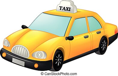 taxi, caricatura, amarillo