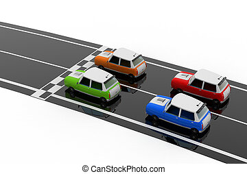 Taxi cars on the road