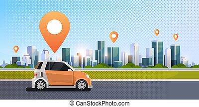 taxi, carsharing, concept, transport, service, épingle, ville, commander, voitures, partage, moderne, plat, mobile, rue, emplacement, fond, ligne, cityscape, horizontal, route, voiture