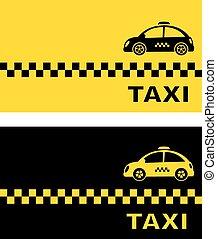 taxi, carte affaires, retro