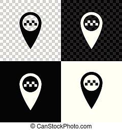 taxi, carte, isolé, illustration, arrière-plan., vecteur, noir, blanc, indicateur, transparent, icône