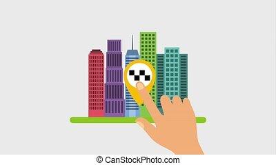 taxi, carte, main, toucher, taxi, indicateur